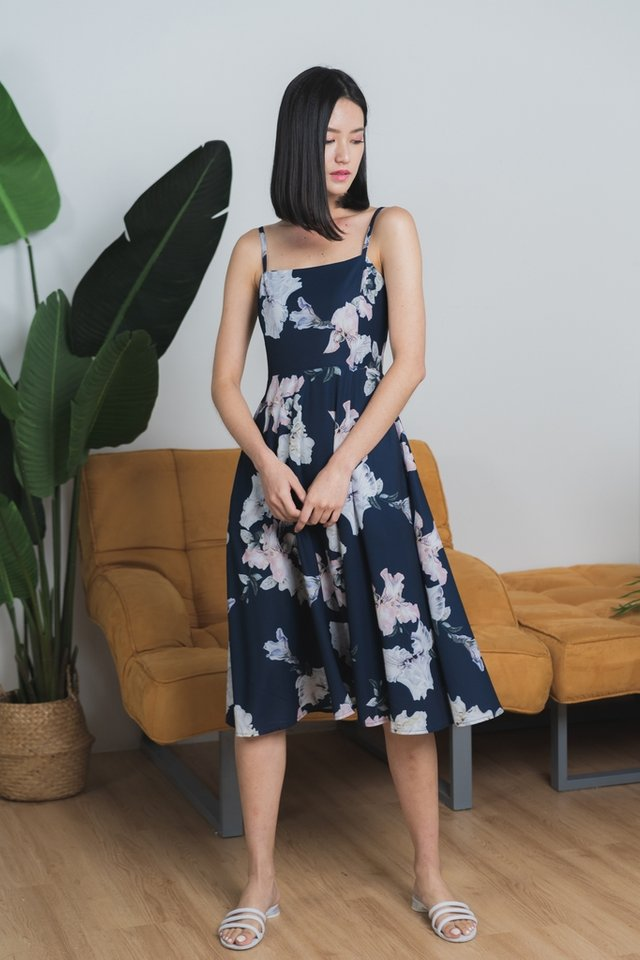 *Online Exclusive* Paolina Floral Flare Midi Dress in Navy