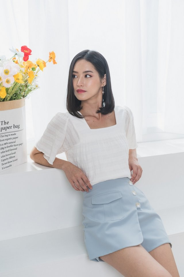 Angelo Textured Square Neck Top in White