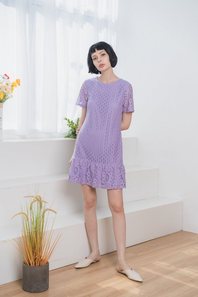 Alessio Lace Dropwaist Dress in Lilac