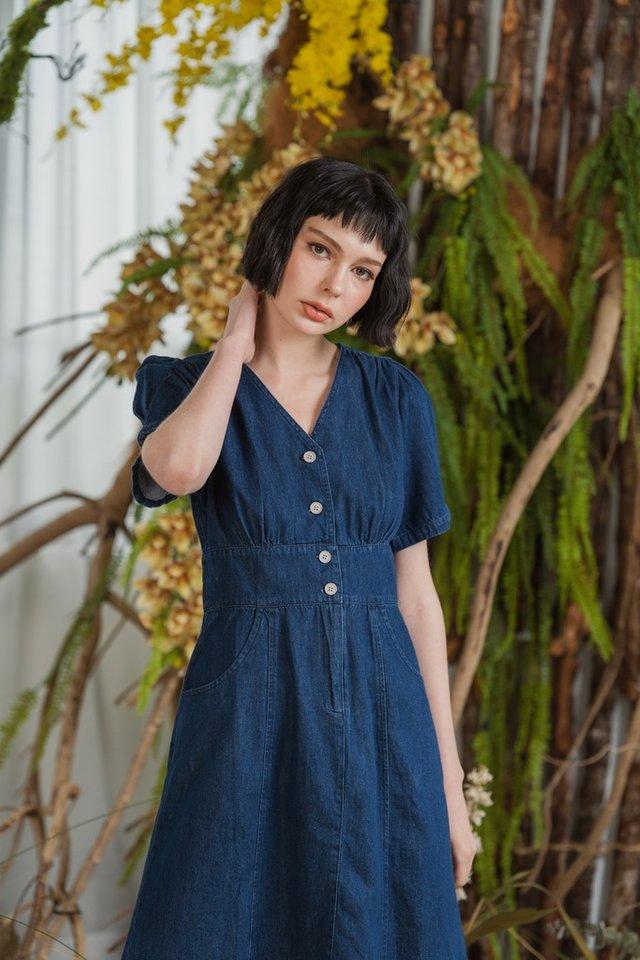 *BACKORDER* Giselle Puffed Sleeves Denim Dress in Dark Wash