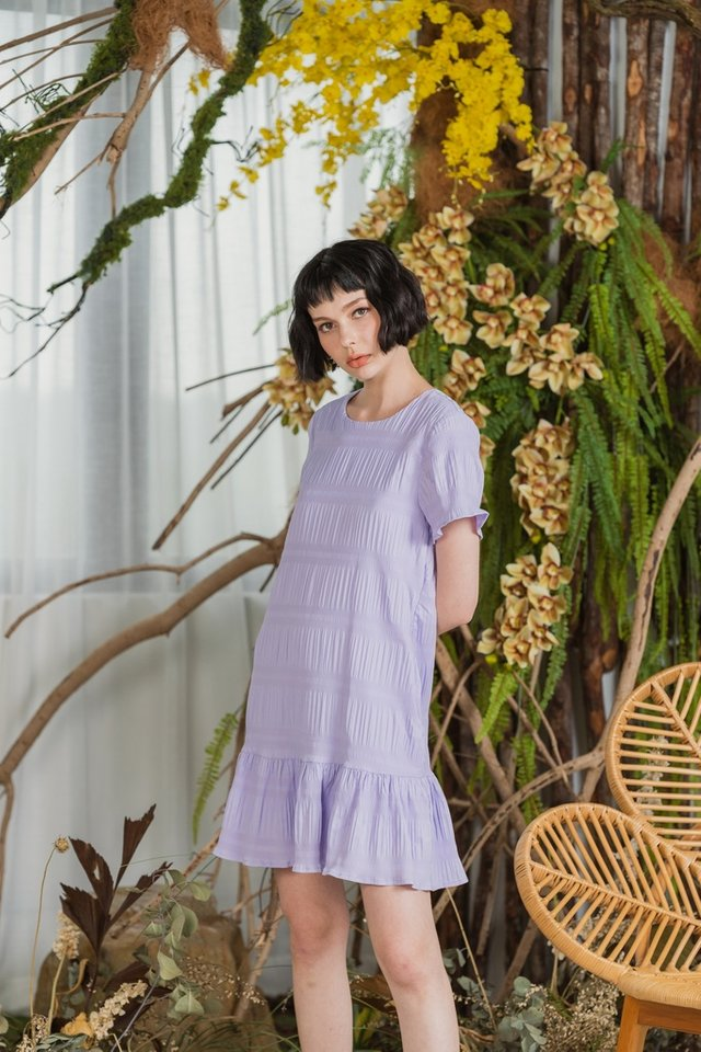 Adalyn Textured Dropwaist Dress in Lilac