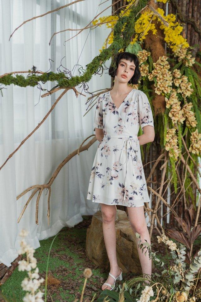 Darielle Floral Faux Wrap Dress in White