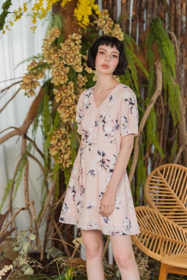 Darielle Floral Faux Wrap Dress in Apricot