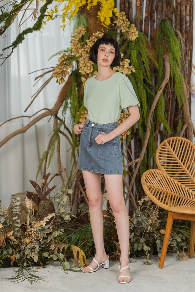 Iyla Textured Puffed Sleeves Top in Sage