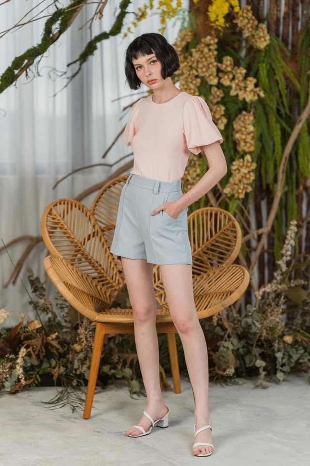 *BACKORDER* Hailey Ribbed Puffed Sleeves Top in Blush