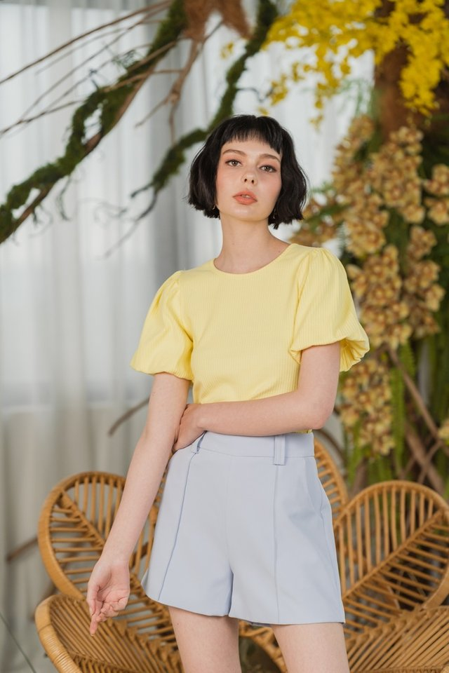 Hailey Ribbed Puffed Sleeves Top in Daffodil Yellow