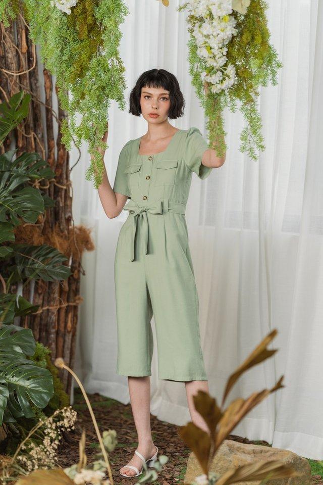Brienna Pocket Button Jumpsuit in Sage