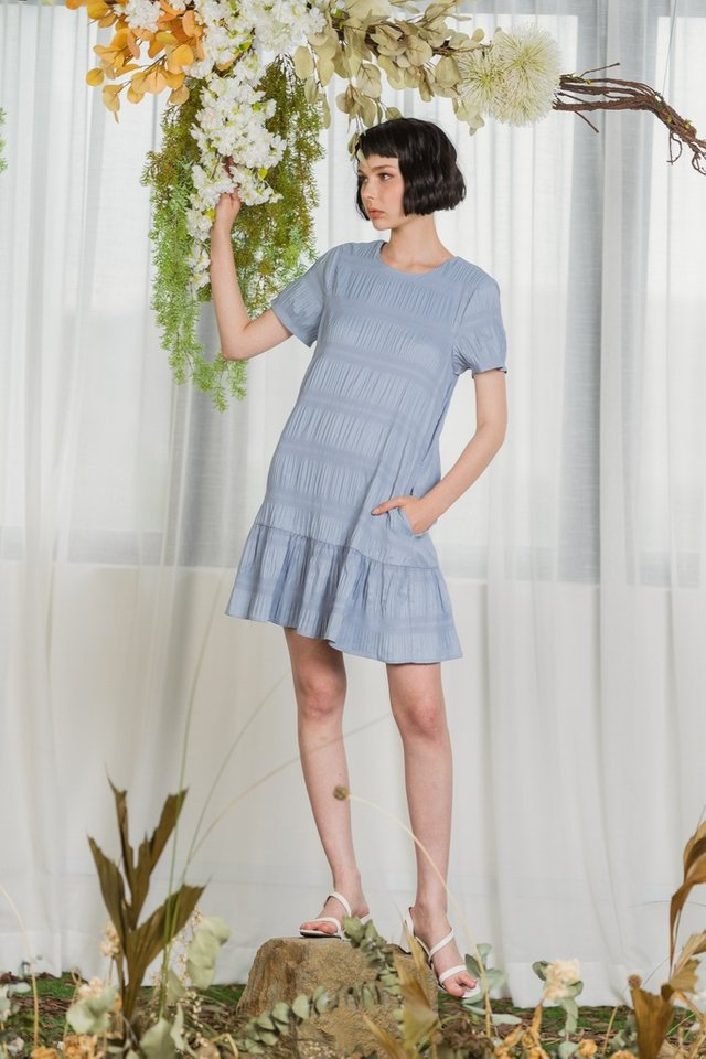 Adalyn Textured Dropwaist Dress in Powder Blue